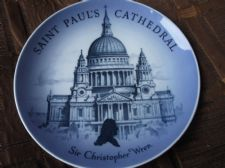 ROYAL COPENHAGEN BLUE WHITE WALL PLATE ST PAUL'S CATHEDRAL LONDON ~ WREN 7.25""